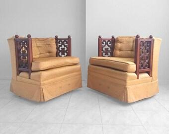 20% SALE 2 hollywood regency MID CENTURY mediterranean lattice arm swivel chairs
