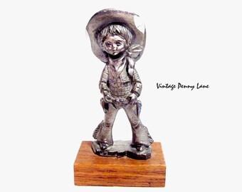 Child Cowboy Figurine, Handmade Pewter