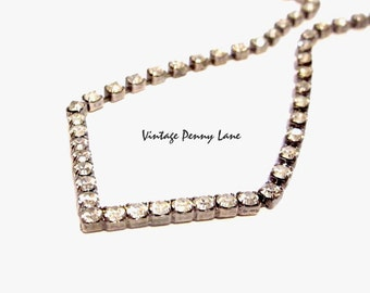 Vintage Rhinestone Necklace, Silver Chain