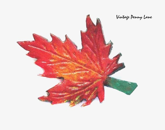 Tooled Leather Brooch, Red Maple Leaf Pin