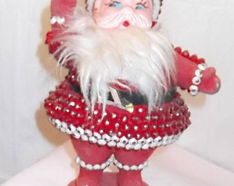 Vintage 60s, 70s PIN ART Santa Claus, Ktischy Christmas Doll, Xmas