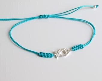 Cz Fish Charm Bracelet Turquoise Macrame Bracelet  Friendship Bracelet Minimal Bracelet Lucky luck