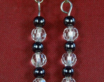Number 911. Gunmetal and Crystal Random Bead Earrings