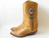 80's Cowboy Boots// Brown Leather Beaded Fringe  Boots. Size 8