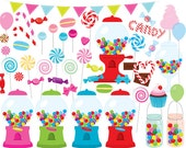 Candy clipart - sweets clip art vintage gumball machine lollipops lollies suckers candy jar macarons candy floss digital commercial use
