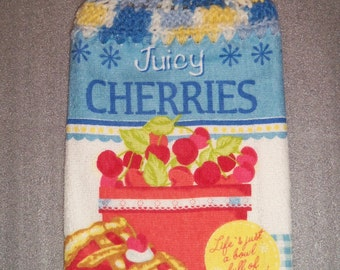 LIFE is a BOWL of CHERRIES Double Layer Hanging Crochet Towel for kitchen