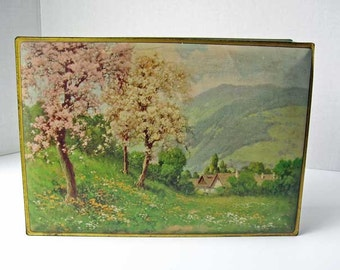 Vintage 1920's Nabisco Cookie, Biscuit Tin Box, Flowering Fruit Trees Mountainscape Scene, Storage Box, Jewelry Box, Cherry Bloosoms