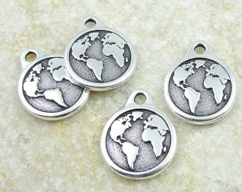 TierraCast EARTH Charm - Antique Silver Charm - World Charm Planet Earth with Continents for Earth Day (P1250)