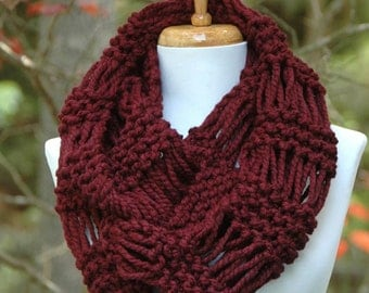 Chunky Knit Infinity Scarf, Circle Scarf, Claret Burgundy Scarf, Knit Scarf, Hand Knit Scarf, Women's Scarf, Knitted Winter Wool Scarf
