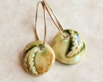 Tiny Fern Porcelain Earrings