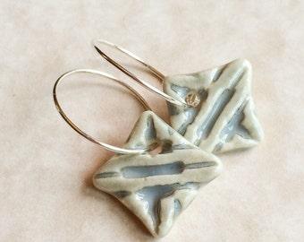 Tiny Porcelain Misty Gray Diamond Earrings