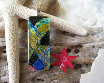 """CHUNKY Glass Pendant with FREE matching cord  """"Gold, Blue, Black & Pink""""  021"""