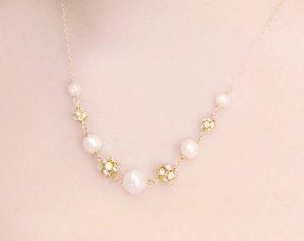 Bridesmaid Swarovski Pearl and Silver Rhinestone Fireball Wedding Necklace and Earring Set