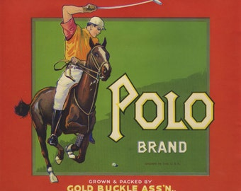 Polo Player Horse Orange Fruit Crate Label