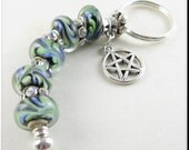 European Style Charm Keychain Car Accessories Rhinestone Retro Silver Key Chain Murano Beads Pentagram Pentacle
