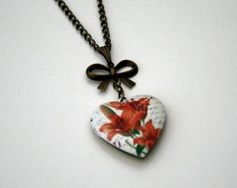 Red Flower Locket Necklace, Floral Necklace, Heart Locket Necklace