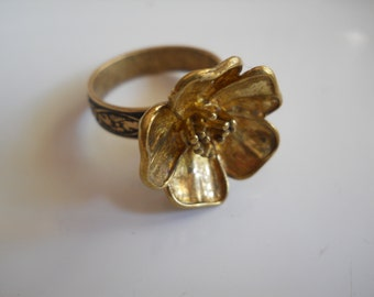 Metal Dogwood Flower Ring Ornate Repurposed Adjustable Brass Ring Band Solid Metal Flower Garden Jewelry Unique Ring Recycled 1970's Earring