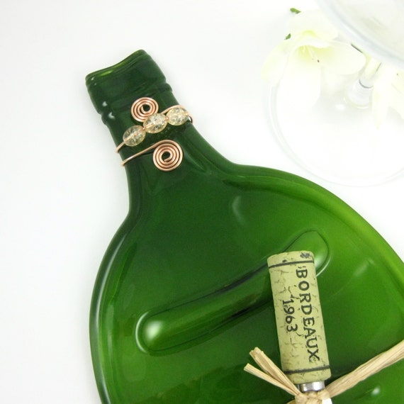 Large Bright Green Flattened Wine Bottle Tray - Recycled and Eco Friendly