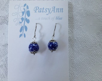 Blue Willow earrings round dangles on; hypo allergenic titanium earwires perfectwho loves blue