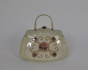 1950s purse / Huge Vintage 50's Lucite Framed Floral Bag Purse