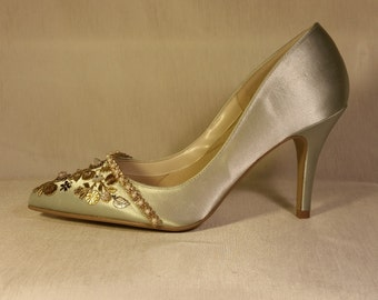 Silver Wedding Shoes .. Silver Stilettos with GOLD and Crystal adornments.. wedding shoes ..Metallic Embellishments .. FREE shipping in USA