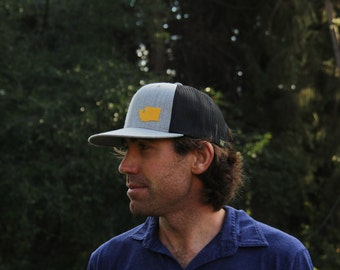 wooly GEO trucker cap  // you pick geographical appliqué