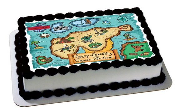 Edible Cake Images Pirate : Pirate Treasure Map Themed Edible Frosting Topper Edible