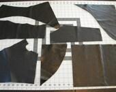 leather, leather scraps, black leather, leather pieces