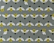 Buzzworthy 1 FQ Cotton Fabric Silver Color, Sold Out Bright and Buzzy Collection by Laurie Wisbrun for Robert Kaufman Fabric, Bee Fabric