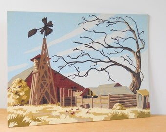 Vintage Paint By Numbers • Broken Windmill 1956 • Unframed Western Barn with Windmill