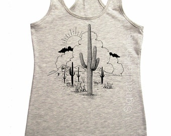 Desert Tank top - Womens Gypsy fahion vintage graphic tee shirt soft cotton summer southern racerback tank t-shirt