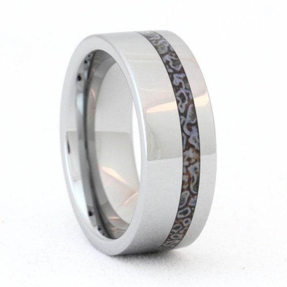 tungsten ring dinosaur bone wedding band unique by On unique tungsten mens wedding bands