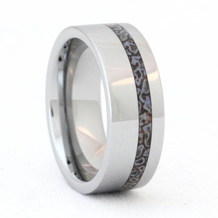 tungsten ring dinosaur bone wedding band unique by