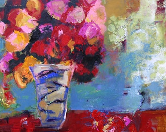 """FLORAL ABSTRACT Original  PAINTING """"Golden Moment"""" Acrylic on 24"""" x 24"""" canvas by Contemporary Artist Elizabeth Chapman"""