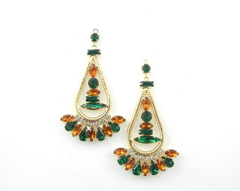 Pair of Gold-tone Drop Charms with Green and Topaz Faceted Gems