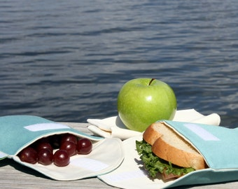 Organic Cotton Sandwich and Snack Bags, Reusable, Eco Friendly - Aqua Blue - Set of 2 - Back to School