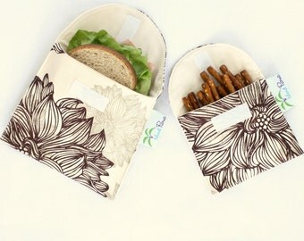 Organic Sandwich and Snack Bags, Reusable, Eco Friendly - Set of 2 - Back to School -- Evelyn & Janette Brown Flowers