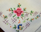 Square Cotton Handkerchief With Embroidered Roses and Daisies