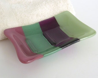 Fused Glass Soap Dish in Plum, Violet and Greens
