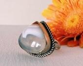 SALE Statement Ring. Agate. Handmade Bohemian Vintage Jewelry. Adjustable