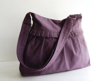 Sale - Plum Canvas Bag - Shoulder bag, Cross body, Diaper bag, Messenger bag, Tote, Travel bag, Women - SHANNON