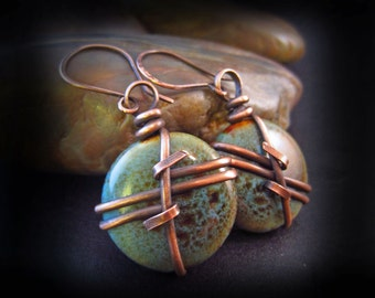 Rustic Copper and Porcelain Earrings - Wire Wrapped Copper - Green and Blues - Earthy Earrings - Artisan Handmade Earwires - MARINER'S CROSS