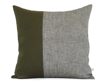 Olive Chambray Colorblock Pillow Cover (20x20) - Modern Home Decor by JillianReneDecor - Cypress Green Pillows