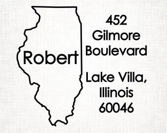 Illinois Personalized Return Address State Stamp