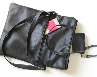 Black Leather Fold Over Tote Bag- Handmade Genuine Leather bag, with adjustable cross body strap