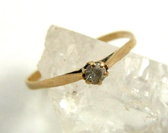 Gold Ring, 9k Gold, 9ct Gold, Faux Diamond, Cz Ring, Solitaire Ring, Thin Ring, Skinny Ring, Stacking Ring, US Size 5-3/4, UK Size L Vintage