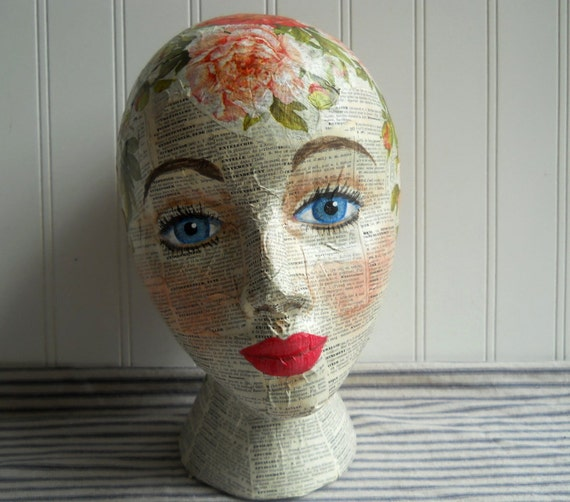 Mannequin Head mixed media Collage and handpainted Peony Rose French dictionary text Altered art Folk art