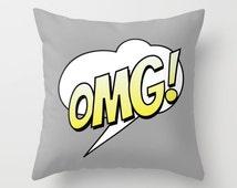 OMG Comic Throw Pillow, Cartoon Pillow, Text Pillow, Home Decor, Decorative Pillow Cover, Grey Cushion, Unique Pillow, Grey, Humor Pillow