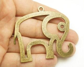 2pcs- Antique Bronze Plated  Elephant pendant-65x55mm-(804-013AB)