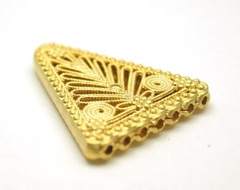 1 pc Matte 22K Gold Plated Base Slide with 7 loop pendant-(35mmx30 mm)-(006-041GP)